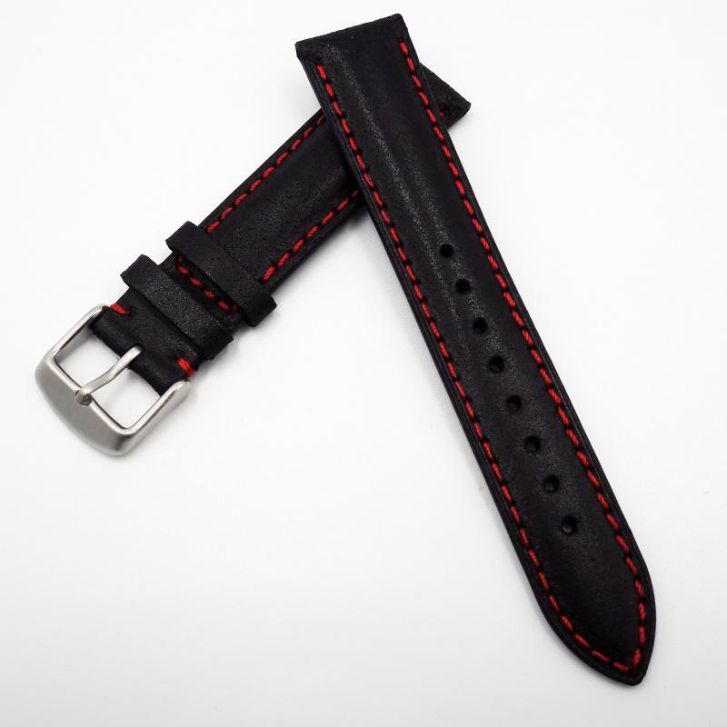 全新 20mm 意大利黑色牛皮紅色車線通用錶帶配精鋼針扣 合適 IWC, Tudor, Rolex, Seiko, Citizen, Cartier or any watches