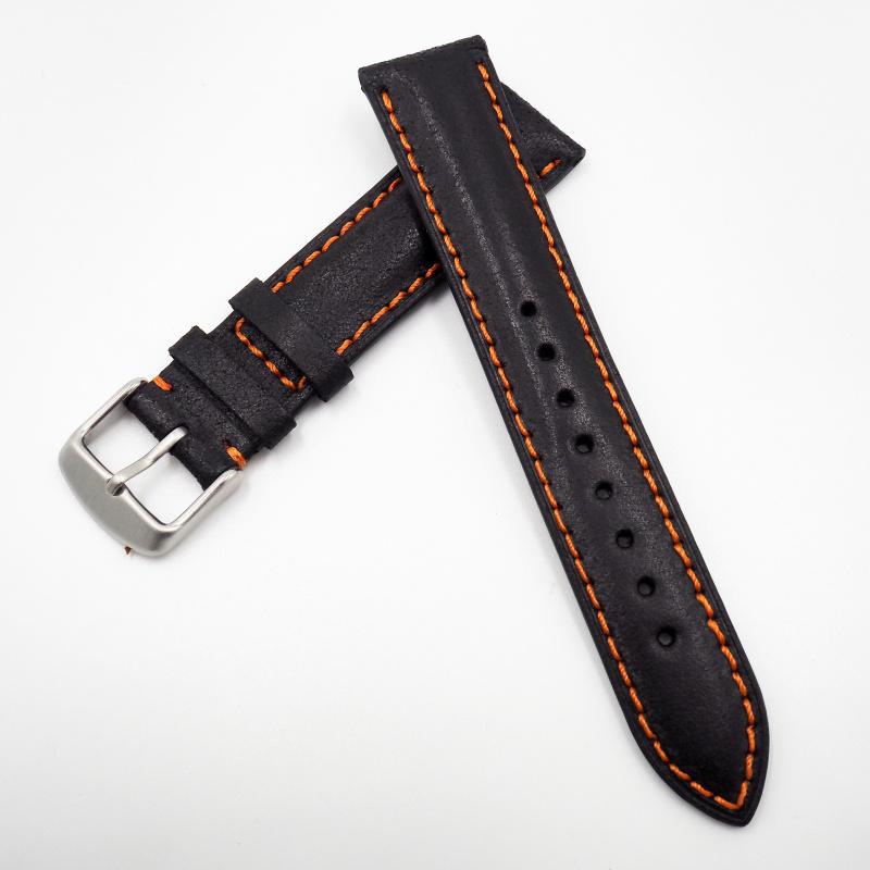 全新 20mm 意大利黑色牛皮橙色車線通用錶帶配精鋼針扣 合適 IWC, Tudor, Rolex, Seiko, Citizen, Cartier or any watches