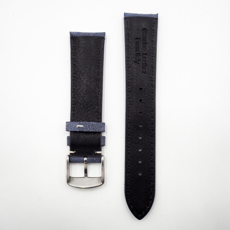 全新 20mm 意大利藍色牛皮通用錶帶配精鋼針扣 合適 IWC, Tudor, Rolex, Seiko, Citizen, Cartier or any watches