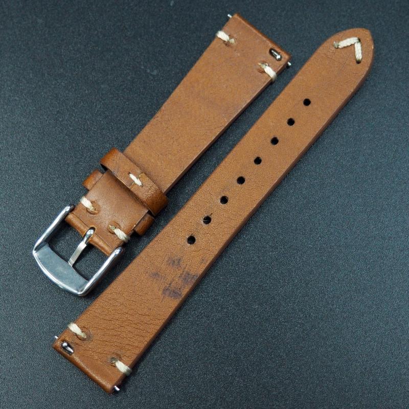 全新 20mm 人手拉線暗橙色牛皮懷舊通用錶帶配精鋼針扣 合適 IWC, Tudor, Rolex, Seiko, Citizen, Cartier or any watches