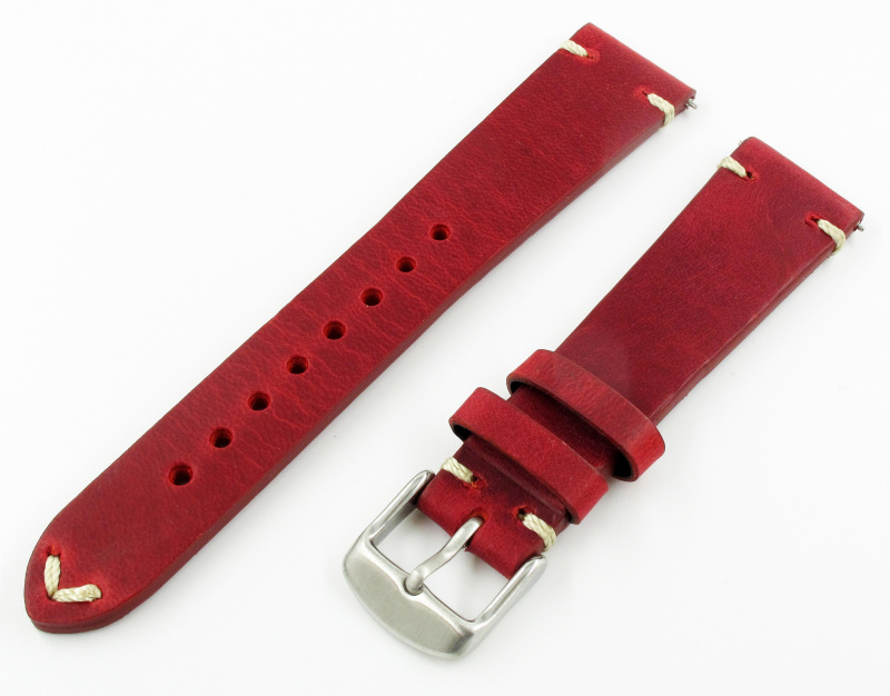 20mm代用錶帶 手工皮革 懷舊紅色牛皮錶帶配316L精鋼錶扣 適合Rolex, IWC, Seiko, Citizen, Cartier