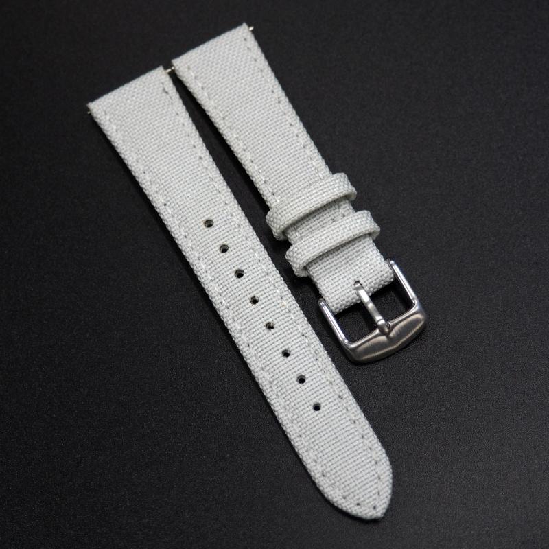 全新20mm通用錶帶 灰白色尼龍面牛皮錶帶配316L精鋼錶扣 合適 Rolex, Tudor, IWC, Seiko, Citizen, Cartier or any watches