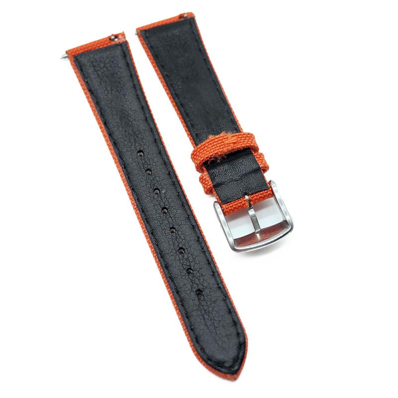 20mm Cordura 橙色尼龍面牛皮錶帶, 快拆生耳