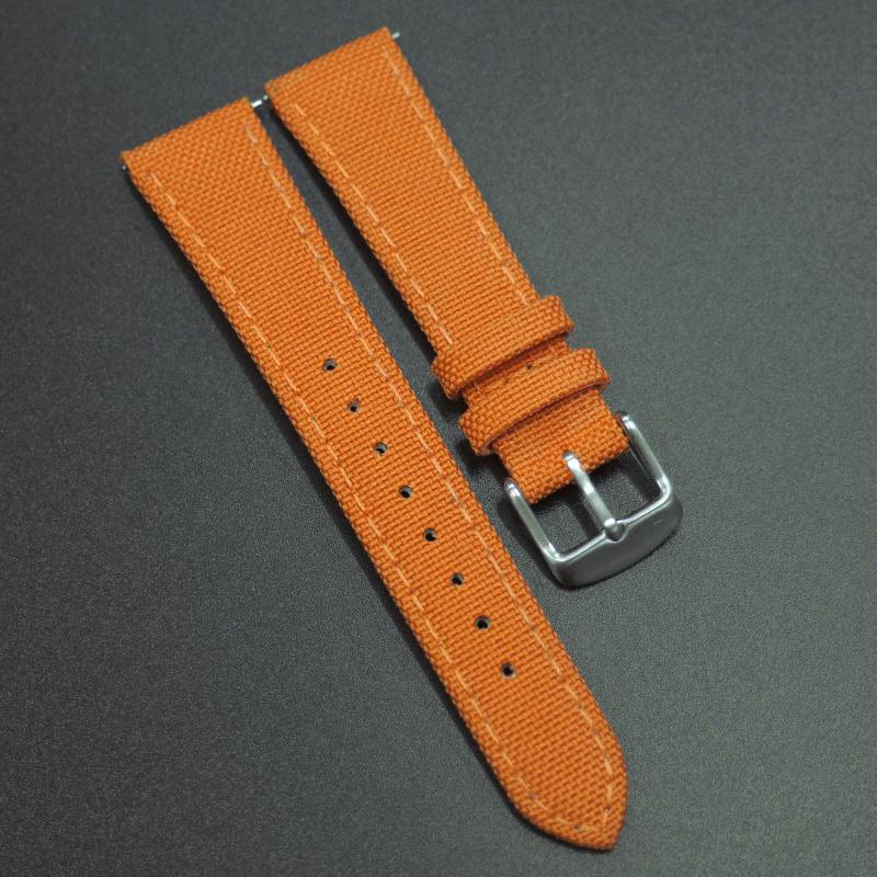 全新20mm通用錶帶 橙色尼龍面牛皮錶帶配316L精鋼錶扣 合適 Rolex, Tudor, IWC, Seiko, Citizen, Cartier or any watches