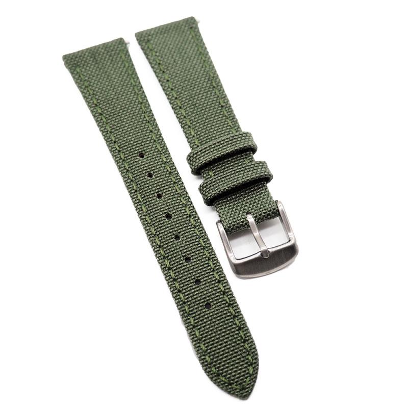 20mm Cordura 綠色尼龍面牛皮錶帶, 快拆生耳
