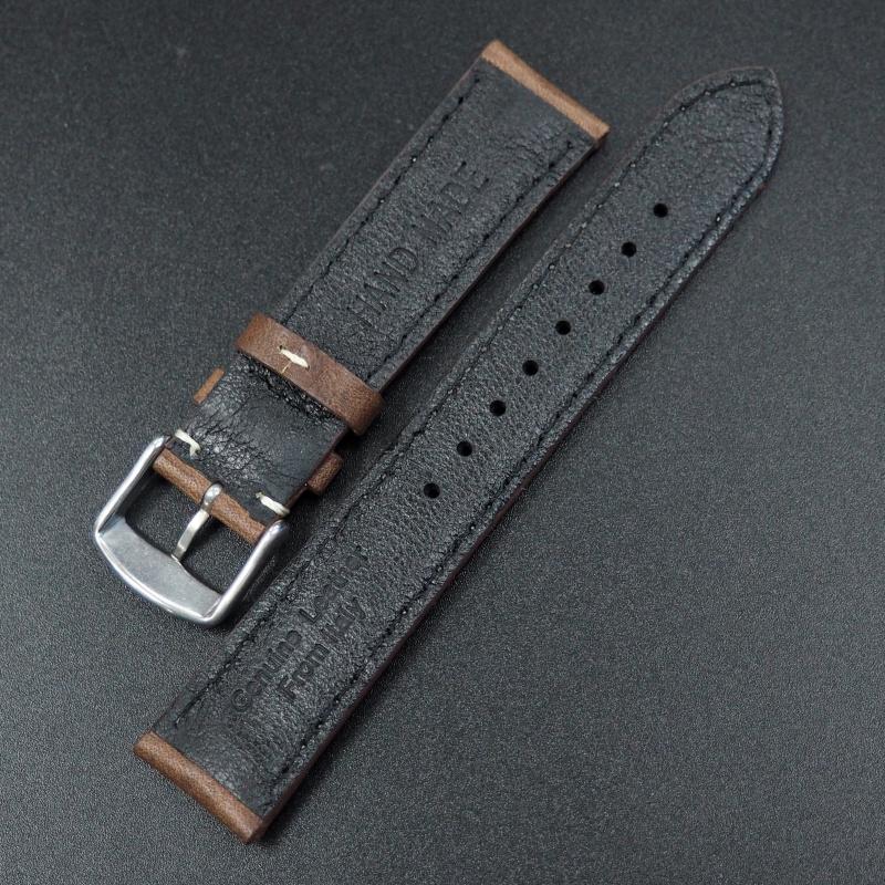 全新20mm通用錶帶 意大利皮革 白線深棕色牛皮錶帶配316L精鋼錶扣 合適 Rolex, Tudor, IWC, Seiko, Citizen, Cartier or any watches