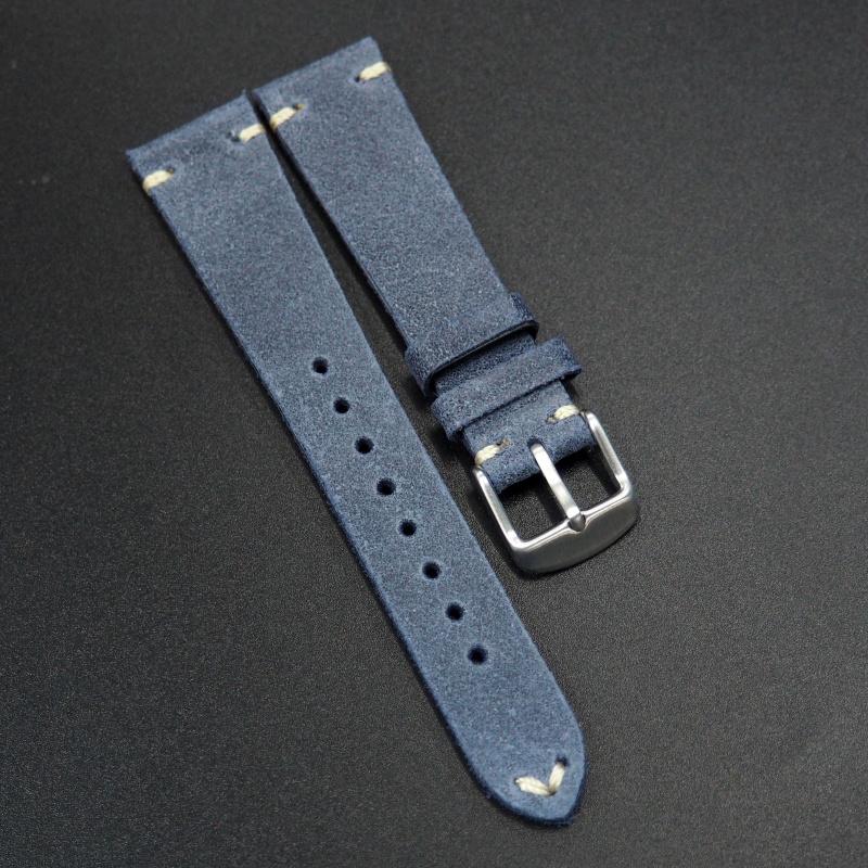 20mm通用錶帶 意大利軟皮 灰丁寧藍色牛皮錶帶配316L精鋼錶扣 適合Rolex, IWC, Seiko, Citizen, Cartier