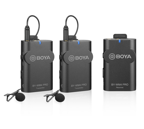 BOYA BY-WM4 Pro K2 (Wireless microphone For DSLRs and Smartphones  (One Receiver, two transmitters)