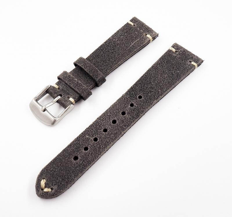 20mm通用錶帶 意大利軟皮 黑色牛皮錶帶配316L精鋼錶扣 適合~Rolex, IWC, Seiko, Citizen, Cartier
