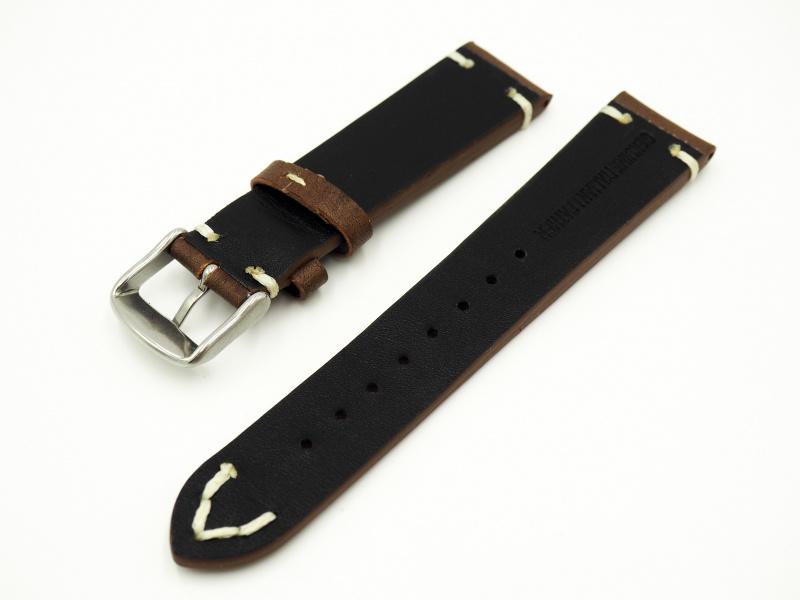 20mm通用錶帶 意大利真皮 深红色懷舊牛皮錶帶配316L精鋼錶扣 適合Rolex, IWC, Seiko, Citizen, Cartier