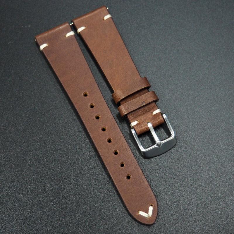 20mm通用錶帶 意大利真皮 黄土赭色懷舊牛皮錶帶配316L精鋼錶扣 適合Rolex, IWC, Seiko, Citizen, Cartier