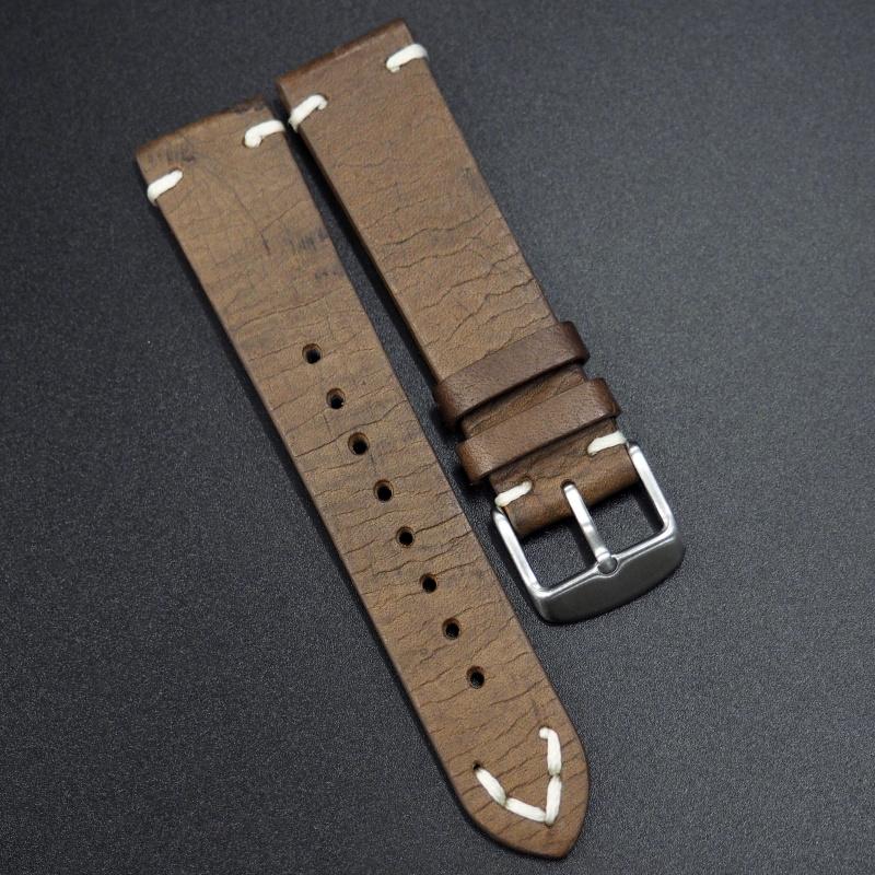 20mm通用錶帶 意大利真皮 駝色懷舊牛皮錶帶配316L精鋼錶扣 適合Rolex, IWC, Seiko, Citizen, Cartier