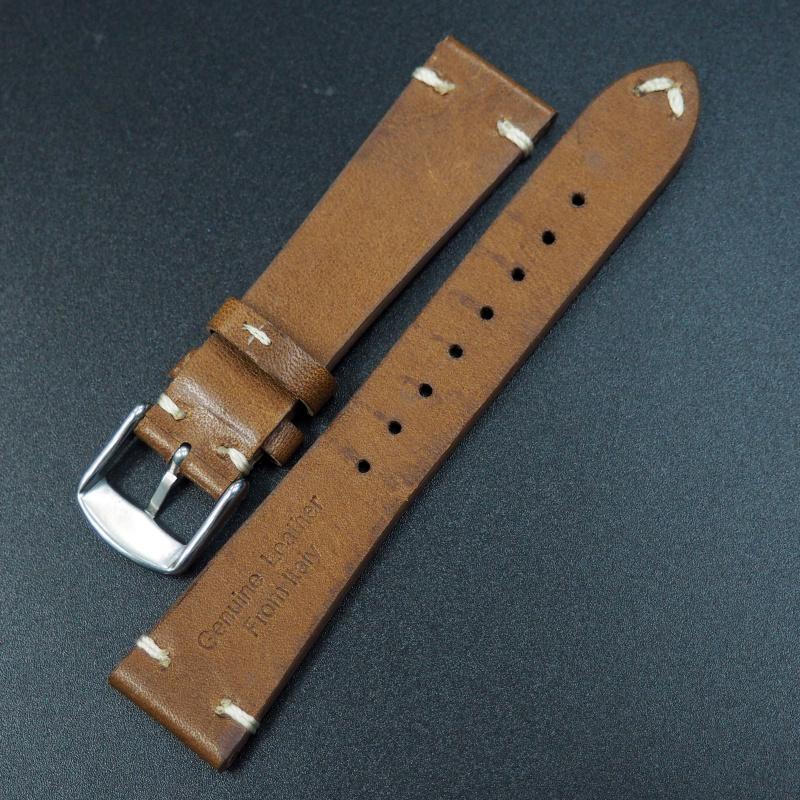 20mm通用錶帶 意大利真皮 啡色懷舊牛皮錶帶配316L精鋼錶扣