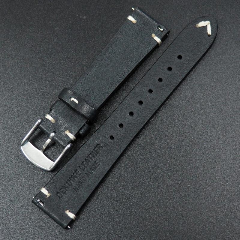 20mm通用錶帶 意大利真皮 黑色懷舊牛皮錶帶配316L精鋼錶扣 適合Rolex, IWC, Seiko, Citizen, Cartier
