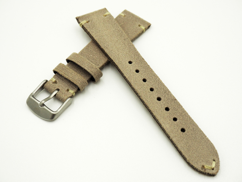 20mm通用錶帶 意大利軟皮 灰白色牛皮錶帶配316L精鋼錶扣 適合Rolex, IWC, Seiko, Citizen, Cartier