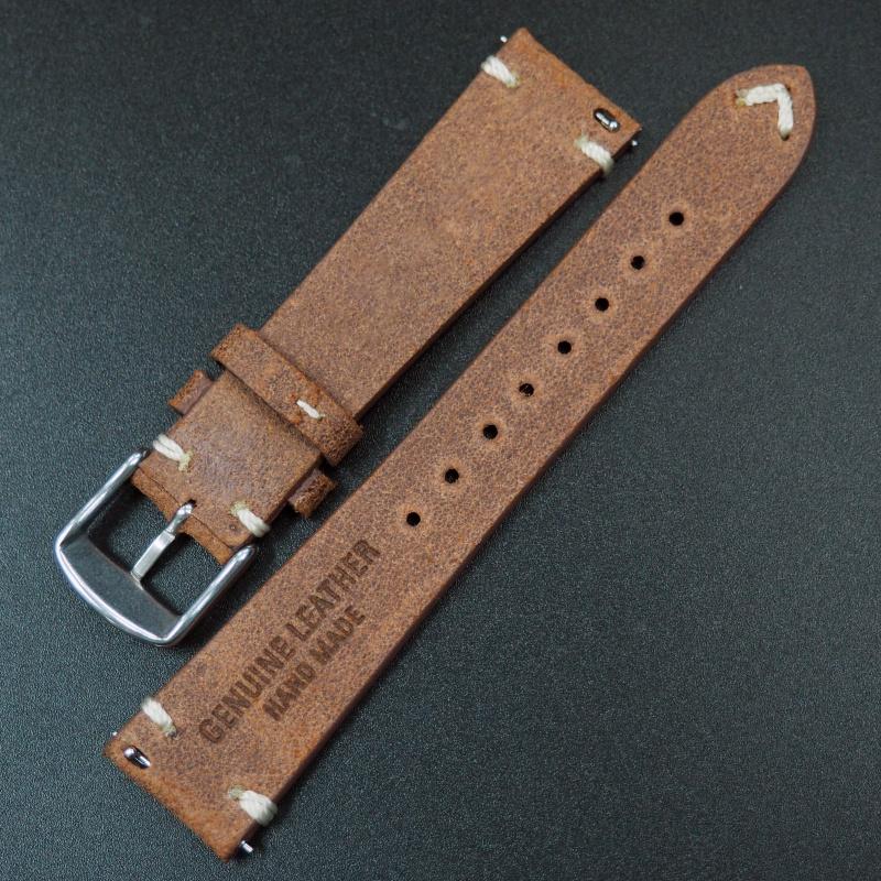 20mm通用錶帶 意大利軟皮 橙紅色牛皮錶帶配316L精鋼錶扣 適合Rolex, IWC, Seiko, Citizen, Cartier