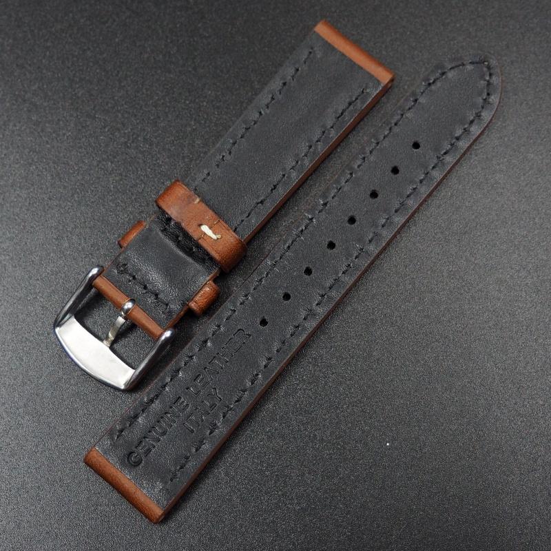 20mm代用錶帶 手工皮革 啡紅色粗白線牛皮錶帶配316L精鋼錶扣 適合Rolex, IWC, Seiko, Citizen, Cartier