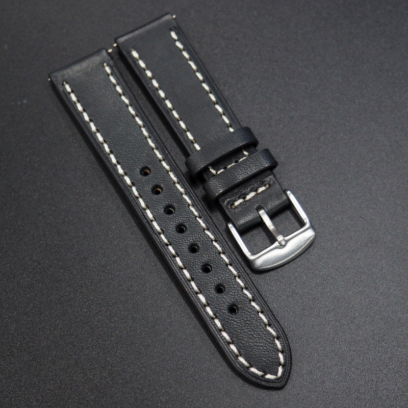 20mm代用錶帶 手工皮革 黑色粗白線牛皮錶帶配316L精鋼錶扣 適合Rolex, IWC, Seiko, Citizen, Cartier