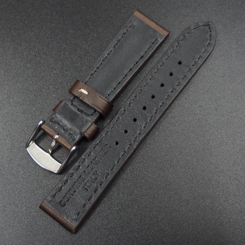 20mm代用錶帶 手工皮革 深棕色粗白線牛皮錶帶配316L精鋼錶扣 適合Rolex, IWC, Seiko, Citizen, Cartier