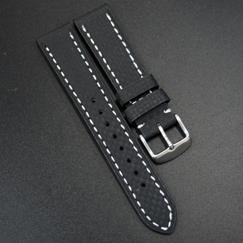 20mm代用錶帶 手工皮革 黑色格仔白線纖維牛皮錶帶配316L精鋼錶扣 Rolex, IWC, Seiko, Citizen, Cartier