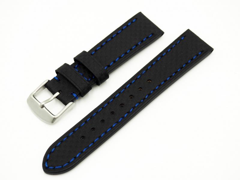 20mm 黑色格仔藍線纖維牛皮錶帶配316L精鋼錶扣 適合Rolex, IWC, Seiko, Citizen, Cartier