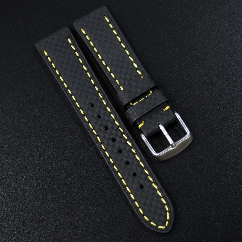 20mm代用錶帶 手工皮革 黑色格仔黃線纖維牛皮錶帶配316L精鋼錶扣 適合Rolex, IWC, Seiko, Citizen, Cartier