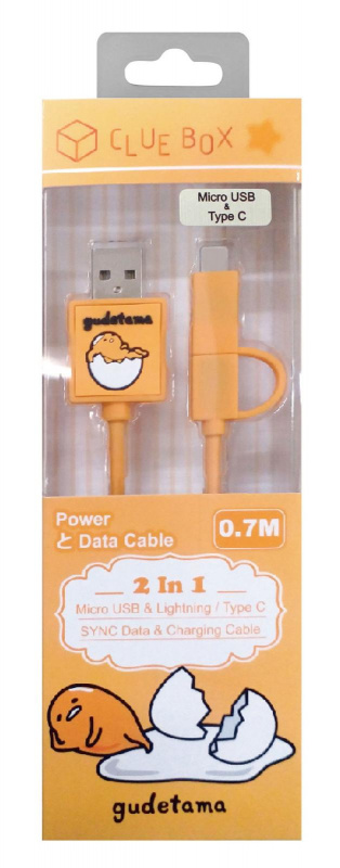 Sanrio 快充傳輸線 2合1 0.7M ( Micro USB & Lightning/ Micro USB & Type C)