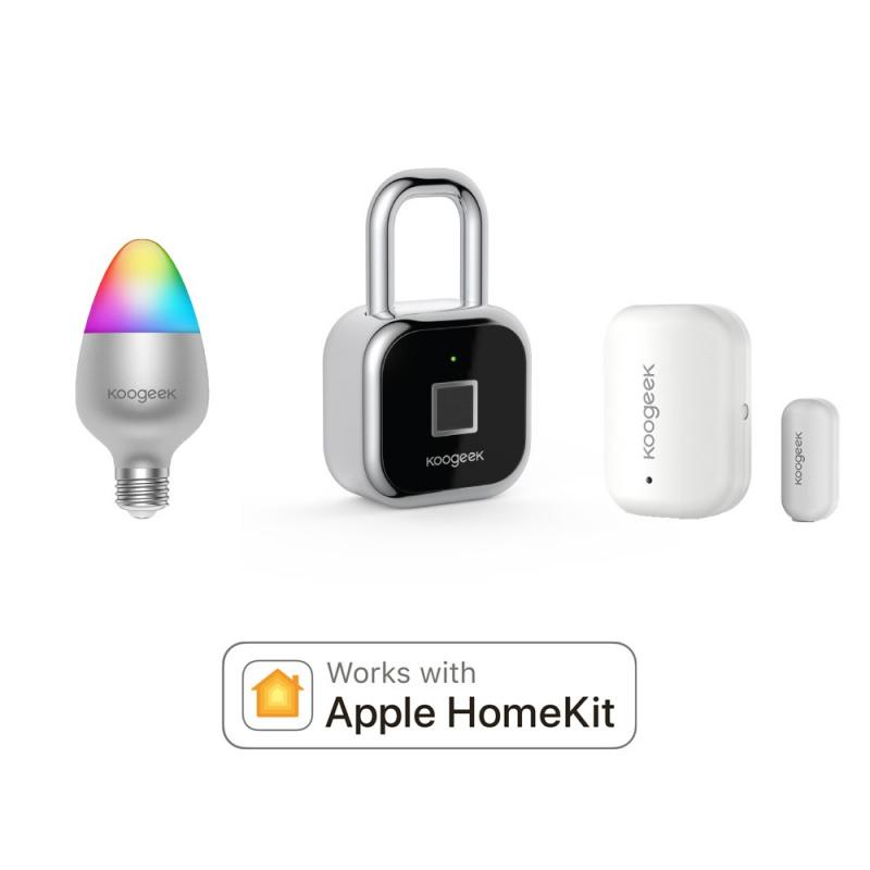 Apple Home Kit / Koogeek Bundle (門窗傳感器, 指紋鎖 & 智能燈泡) 套裝