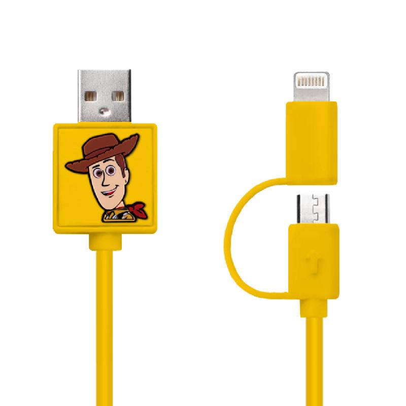 Toy Story 二合一快充傳輸線(Type C + Micro USB / Lightning + Micro USB)
