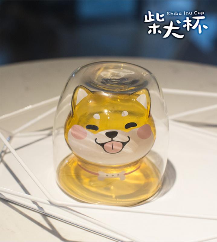 可愛柴犬雙層玻璃杯