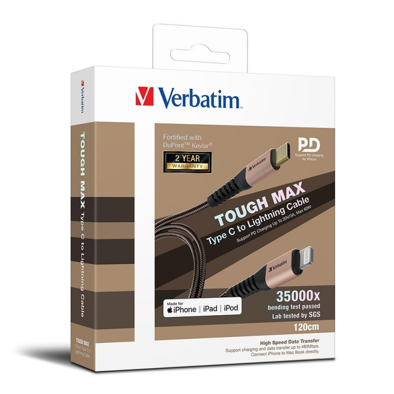 Verbatim Sync & Charge Tough Max Lightning Cable 120cm 【行貨保養】