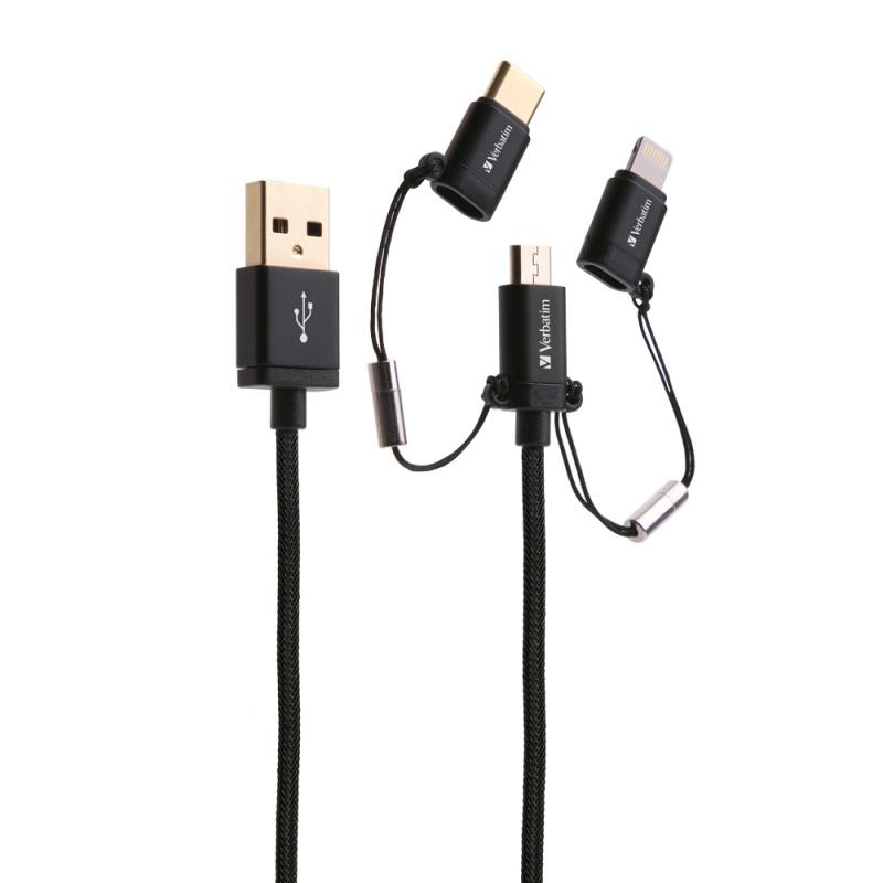 Verbatim MicroUSB, Lightning及Type C to USB-A 3合1充電傳輸線 30cm