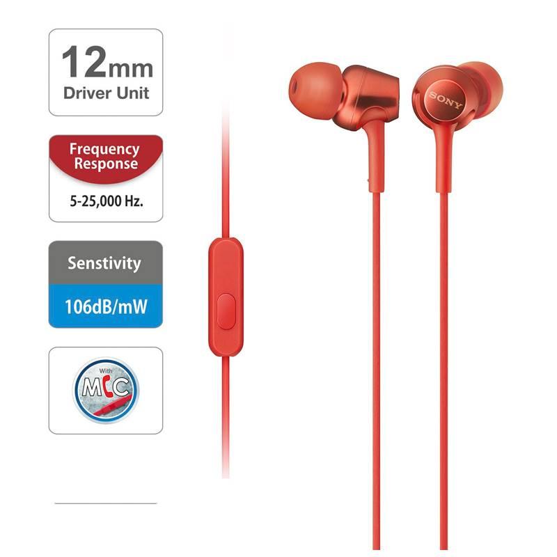 SONY MDR-EX255AP 立體聲入耳式 / 線控功能耳機 【紅色】