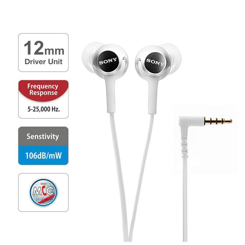 SONY MDR-EX255AP 立體聲入耳式 / 線控功能耳機 【白色】