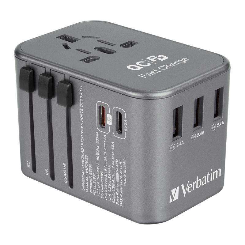 Verbatim 5 Ports 33.5W QC3.0 & PD 旅行轉插