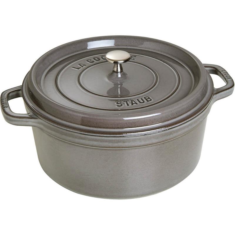 Staub - 圓形鑄鐵鍋 灰色 - 24cm /3.8L (1102418) Round Cocotte Graphite