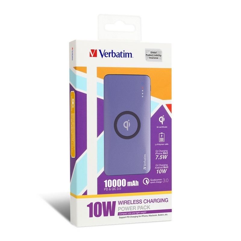 Verbatim Qi 10W QC3.0+PD 10000mAh Battery (65936/65937) 【行貨保養】