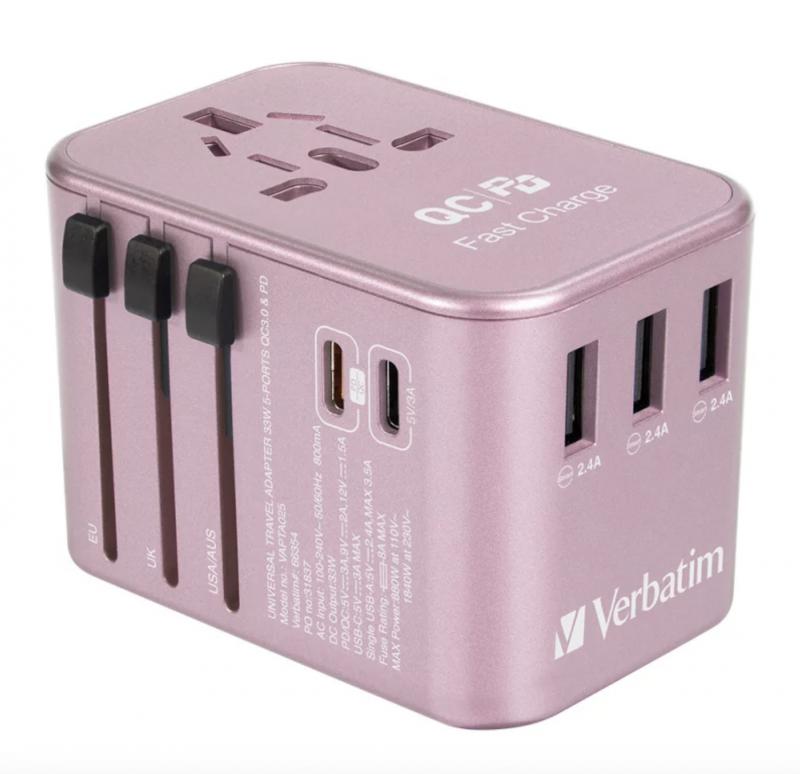 Verbatim - 5 Ports QC3.0/PD3.0 33.5W 萬用旅行充電器 (3 x USB+2 x Type-C) [香港行貨 一年保養]