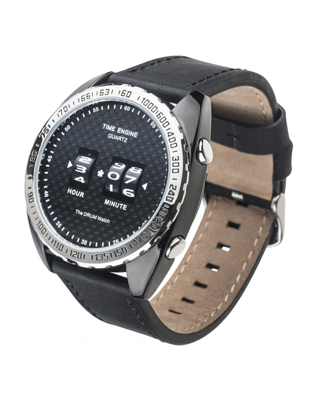 3894-02 Time Engine 黑色皮帶滾筒手錶