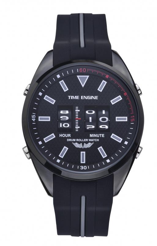 3924-06 Time Engine 全黑磨沙黑灰膠帶滾筒手錶