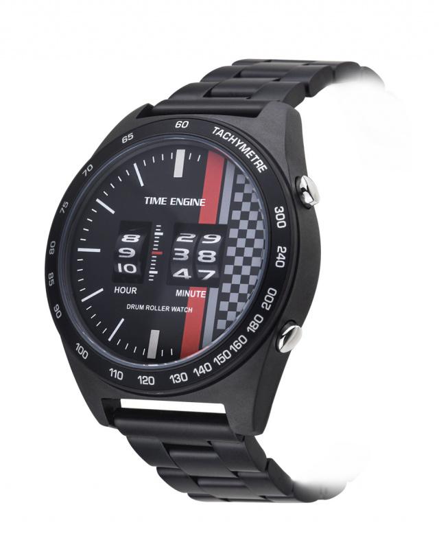 3925-04 Time Engine 全黑磨沙鋼帶滾筒手錶