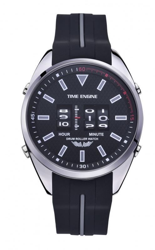 3924-05 Time Engine 磨沙黑灰色膠帶滾筒手錶