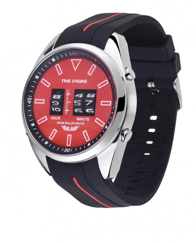 3924-01 Time Engine 黑紅色膠帶滾筒手錶