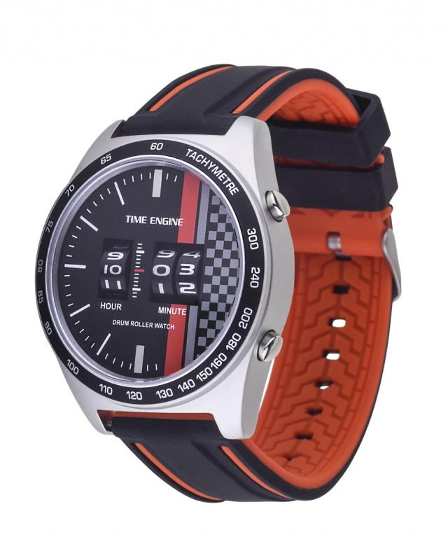 3925-01 Time Engine 磨沙黑紅色膠帶滾筒手錶