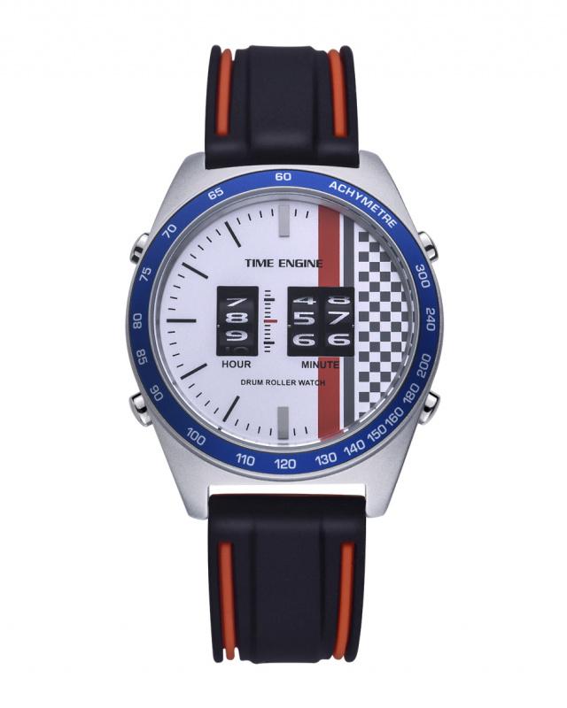 3925-02 Time Engine 磨沙黑紅色膠帶滾筒手錶