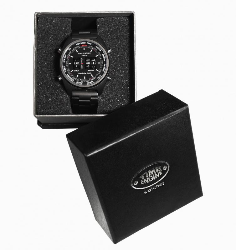 3904-02 Time Engine 黑色皮帶滾筒手錶