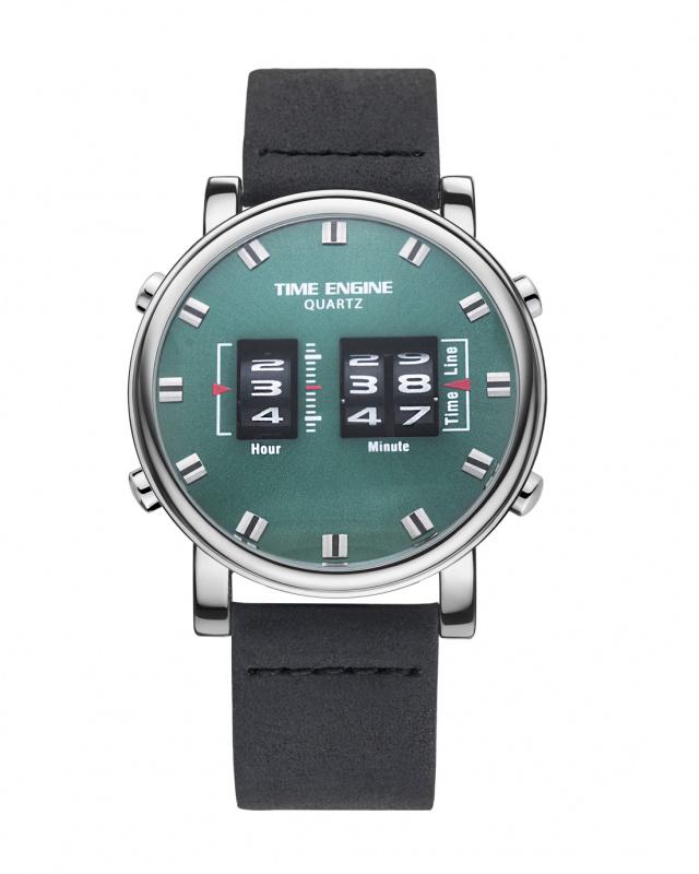 3910-05 Time Engine 黑色皮帶滾筒手錶