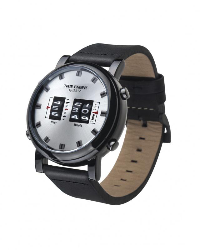3910-06 Time Engine 黑色皮帶滾筒手錶