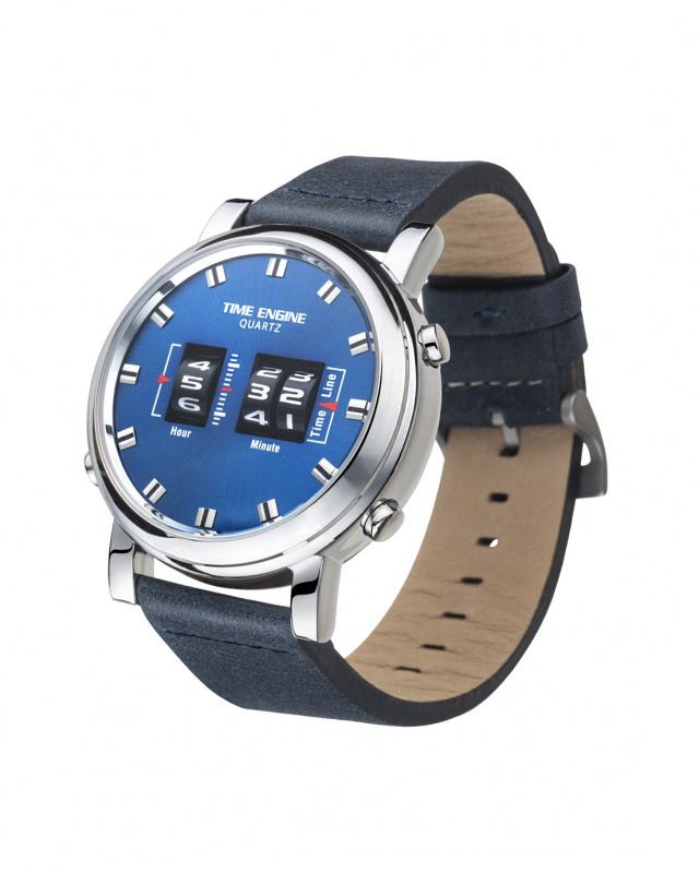 3910-03 Time Engine 藍色皮帶滾筒手錶