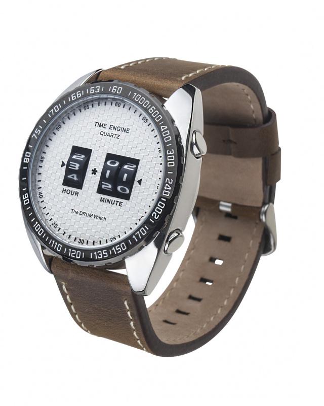 3894-01 Time Engine 啡色皮帶滾筒手錶